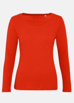 Röd (dam) Neutrala, långärmade eko t-shirts med reklamtryck