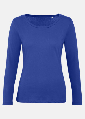 Cobalt Blue (dam) Neutrala, långärmade eko t-shirts med reklamtryck