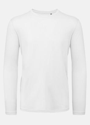 Vit (herr) Neutrala, långärmade eko t-shirts med reklamtryck