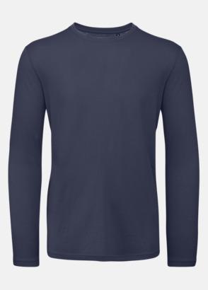 Urban Navy (herr) Neutrala, långärmade eko t-shirts med reklamtryck