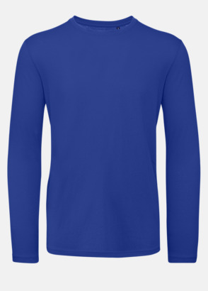 Cobalt Blue (herr) Neutrala, långärmade eko t-shirts med reklamtryck