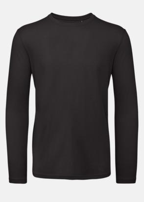 Svart (herr) Neutrala, långärmade eko t-shirts med reklamtryck