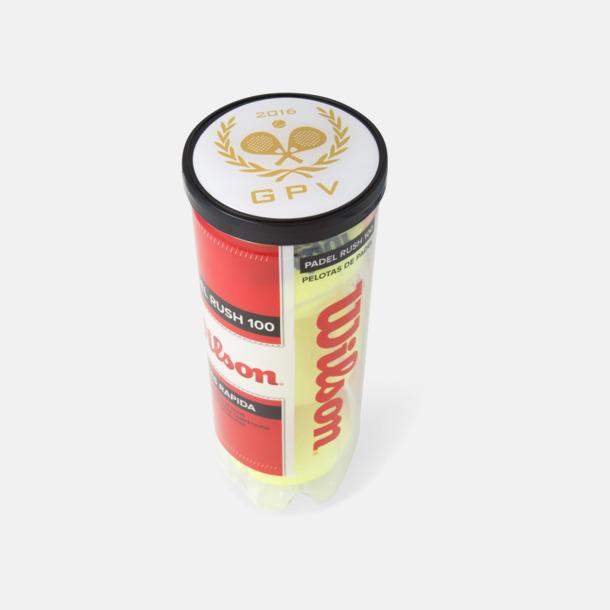 Doming på lock (levereras separat och appliceras själv) Wilson Padel Rush 100 padelbollar med eget reklamtryck