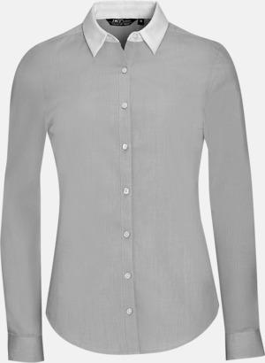 Pearl Grey (dam) Skjortor med kontrastkrage - med reklamtryck
