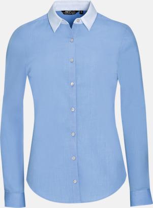 Sky Blue (dam) Skjortor med kontrastkrage - med reklamtryck