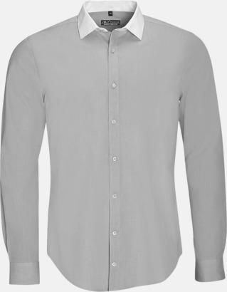 Pearl Grey (herr) Skjortor med kontrastkrage - med reklamtryck