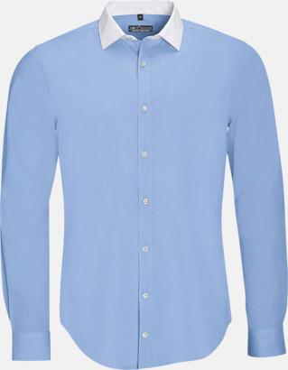 Sky Blue (herr) Skjortor med kontrastkrage - med reklamtryck