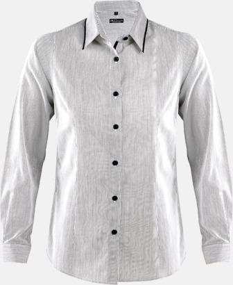 Vitrandig/Svart (dam) Skjortor med diskreta kontrastfärger med reklamtryck