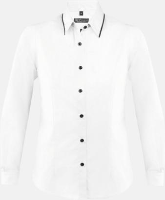 Vit/Svart (dam) Skjortor med diskreta kontrastfärger med reklamtryck