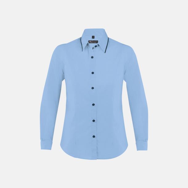 Sky Blue/Marinblå (dam) Skjortor med diskreta kontrastfärger med reklamtryck