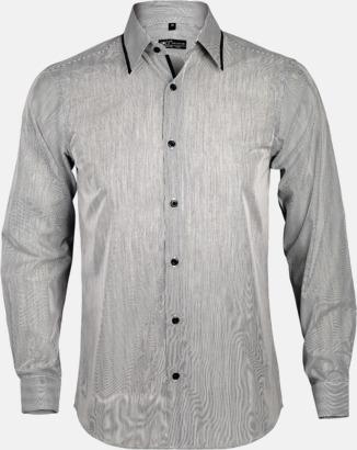 Vitrandig/Svart (herr) Skjortor med diskreta kontrastfärger med reklamtryck