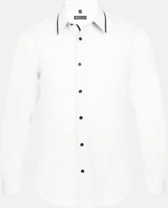 Vit/Svart (herr) Skjortor med diskreta kontrastfärger med reklamtryck