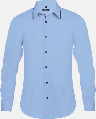 Sky Blue/Marinblå (herr) Skjortor med diskreta kontrastfärger med reklamtryck
