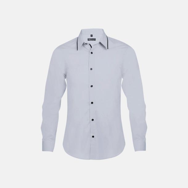 Opal Grey/Svart (herr) Skjortor med diskreta kontrastfärger med reklamtryck