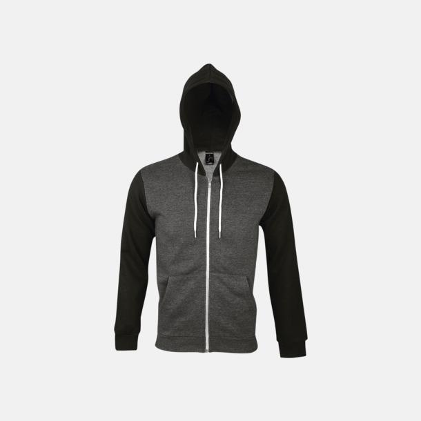 Charcoal Grey Melange/Svart Unisex sweatjackor med reklamtryck