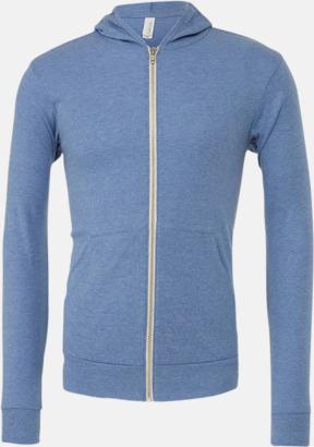 Blue Triblend (heather) Blixtlås triblend hoodies med reklamtryck