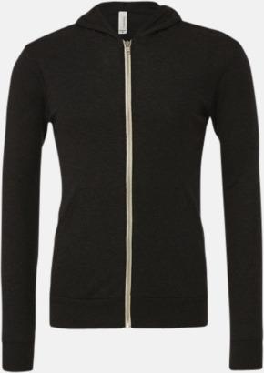 Charcoal-Black Triblend (heather) Blixtlås triblend hoodies med reklamtryck