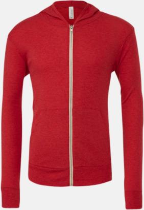 Red Triblend (heather) Blixtlås triblend hoodies med reklamtryck