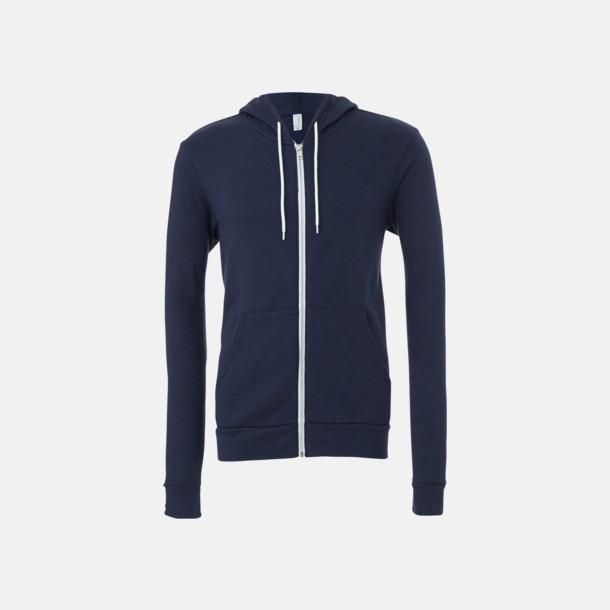 Marinblå Blixtlåsförsedda unisex huvtröjor med reklamtryck