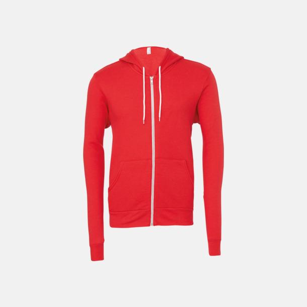 Röd Blixtlåsförsedda unisex huvtröjor med reklamtryck