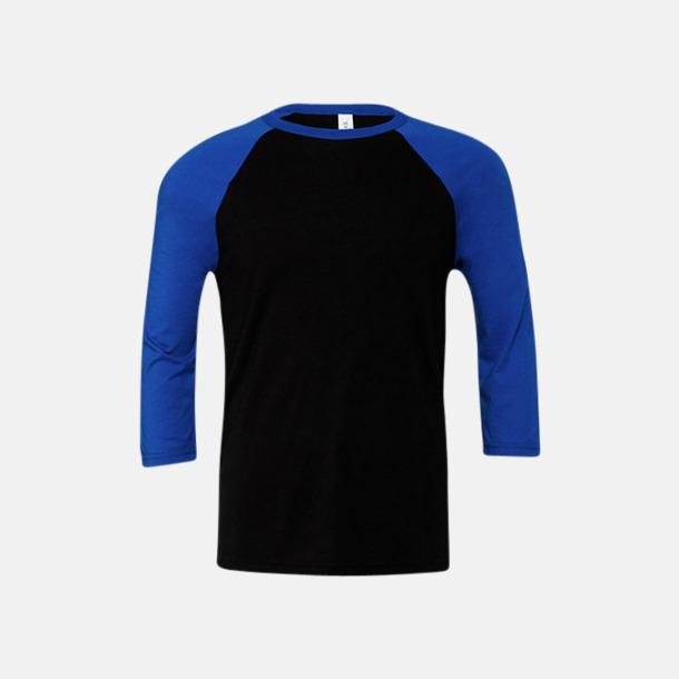 Svart/True Royal (unisex) Baseball t-shirts för små & vuxna med reklamtryck