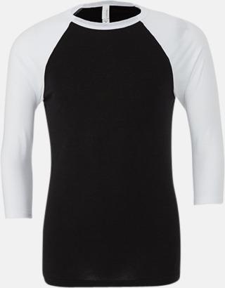 Svart/Vit (unisex) Baseball t-shirts för små & vuxna med reklamtryck