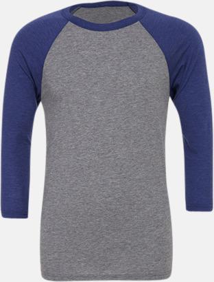 Grå/Navy Triblend heather (unisex) Baseball t-shirts för små & vuxna med reklamtryck