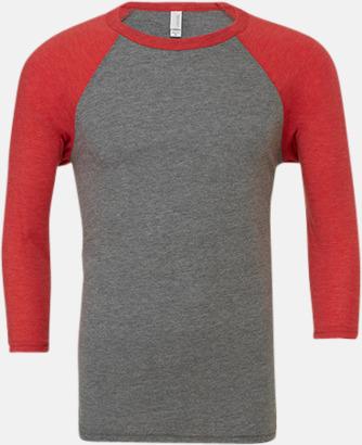 Grå/Red Triblend heather (unisex) Baseball t-shirts för små & vuxna med reklamtryck