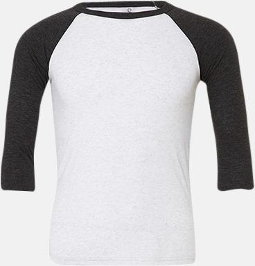 White Fleck Triblend (heather)/Charcoal-black Triblend heather (unisex) Baseball t-shirts för små & vuxna med reklamtryck