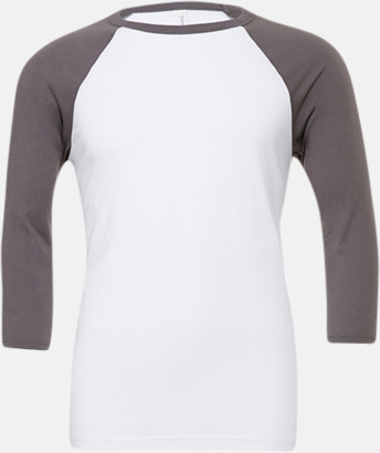 Vit/Asphalt (unisex) Baseball t-shirts för små & vuxna med reklamtryck