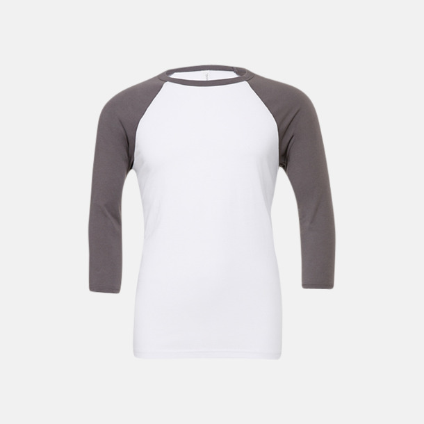 Vit/Asphalt solid (unisex) Baseball t-shirts för små & vuxna med reklamtryck