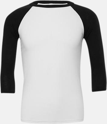 Vit/Svart (unisex) Baseball t-shirts för små & vuxna med reklamtryck