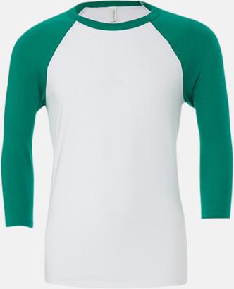 Vit/Kelly (unisex) Baseball t-shirts för små & vuxna med reklamtryck