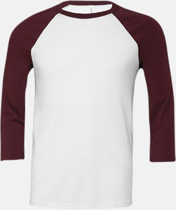 Vit/Maroon (unisex) Baseball t-shirts för små & vuxna med reklamtryck