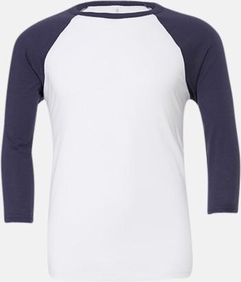 Vit/Marinblå (unisex) Baseball t-shirts för små & vuxna med reklamtryck