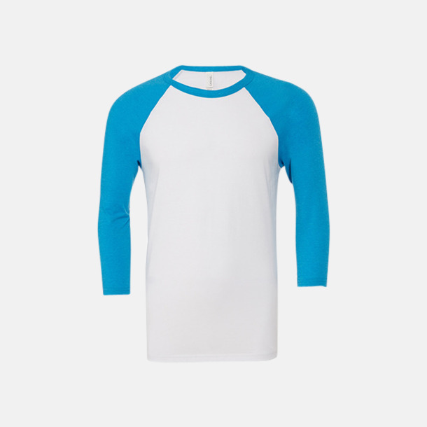 Vit/Neon Blue (unisex) Baseball t-shirts för små & vuxna med reklamtryck