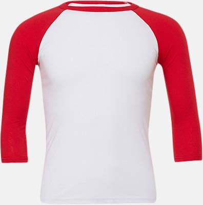 Vit/Röd (unisex) Baseball t-shirts för små & vuxna med reklamtryck