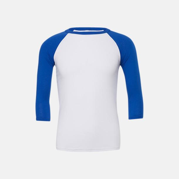 Vit/True Royal (unisex) Baseball t-shirts för små & vuxna med reklamtryck