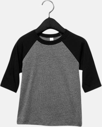 Grå/Charcoal-black Triblend heather (barn/ungdom) Baseball t-shirts för små & vuxna med reklamtryck