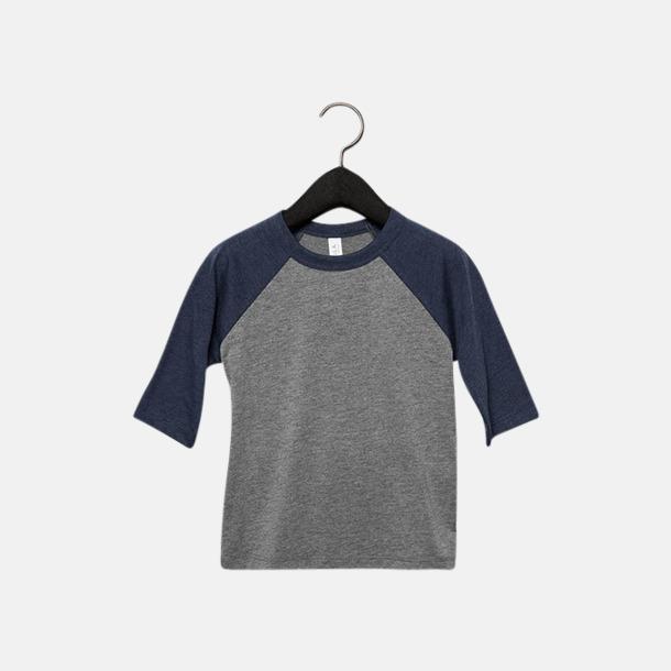 Grå/Navy Triblend heather (barn/ungdom) Baseball t-shirts för små & vuxna med reklamtryck