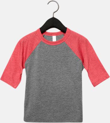 Grå/Red Triblend heather (barn/ungdom) Baseball t-shirts för små & vuxna med reklamtryck