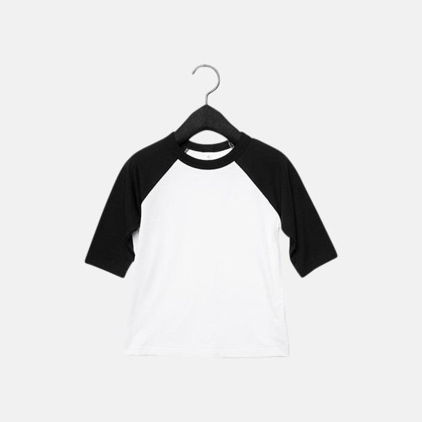Vit/Svart (barn/ungdom) Baseball t-shirts för små & vuxna med reklamtryck
