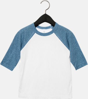 Vit/Denim (barn/ungdom) Baseball t-shirts för små & vuxna med reklamtryck