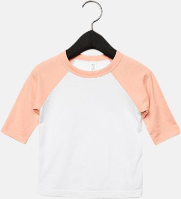 Vit/Heather Peach (barn/ungdom) Baseball t-shirts för små & vuxna med reklamtryck