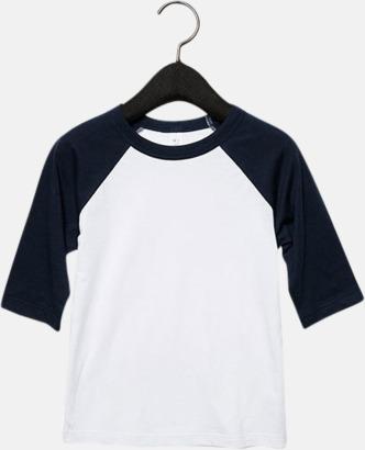 Vit/Marinblå (barn/ungdom) Baseball t-shirts för små & vuxna med reklamtryck