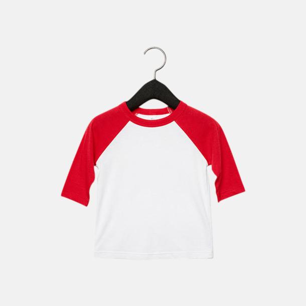 Vit/Röd (barn/ungdom) Baseball t-shirts för små & vuxna med reklamtryck