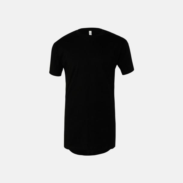 Svart Längre herr t-shirts med reklamtryck