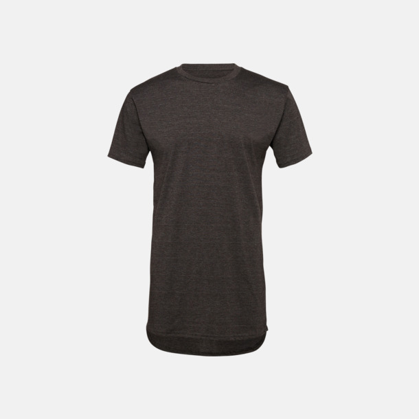 Dark Grey Heather Längre herr t-shirts med reklamtryck