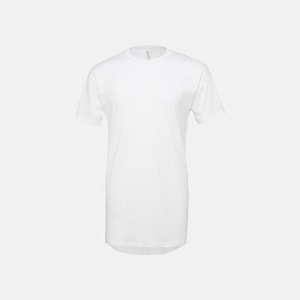Vit Längre herr t-shirts med reklamtryck