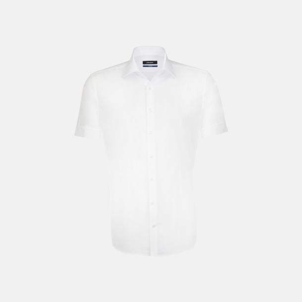 Vit (herr) Kortärmade Seidensticker skjortor med reklamlogo